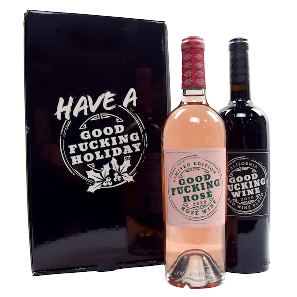 Good Fucking Holiday red and rose wine